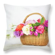 First Spring Garden Roses Throw Pillow