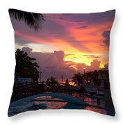 First Sunset In Negril Throw Pillow