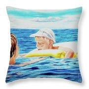 First Swimming - Nadar Primero Throw Pillow
