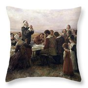 First Thanksgiving Vintage Painting Throw Pillow