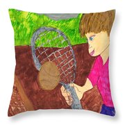 First Time For Tennis Throw Pillow