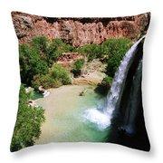 First View Of Havasu Falls Throw Pillow