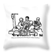 First We Numb You Throw Pillow
