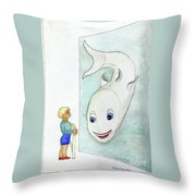 Fish And Boy Throw Pillow