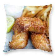 Fish And Chips On A Plate Throw Pillow