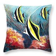 Moorish Idol Fish And Coral Reef Throw Pillow