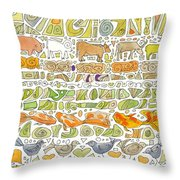 Fish And Fowl Throw Pillow