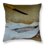 Fish And Knife On A Cutting Board Throw Pillow