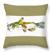Fish Art Catfish Throw Pillow