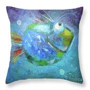 Fish Blue Throw Pillow