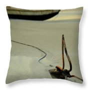 Fish Boat And Anchor On Low Tide  Throw Pillow