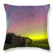 Fish-eye Lens Composite Of Aurora Throw Pillow