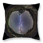 Fish-eye Panorama Of Milky Way Over Red Throw Pillow