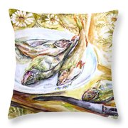Fish For Dinner. Throw Pillow