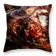 Fish Heads 02 Throw Pillow by Grebo Gray