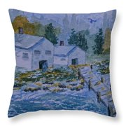 Fish House And Dock 2  Throw Pillow