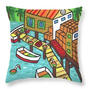 Fish House-cedar Key Throw Pillow