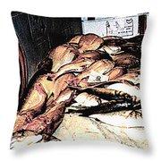Fish Market On The Isle Of Capri,italy Throw Pillow