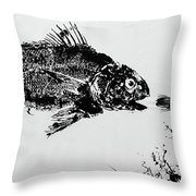 Fish Print On Butcher Paper Throw Pillow