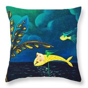 Fish Riding A Unicycle Throw Pillow