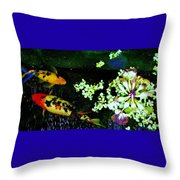 Fish Water Flowers 3 Throw Pillow