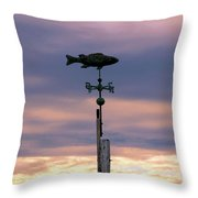 Fish Weather Vane At Sunset Throw Pillow