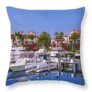 Fisher Island Miami Private Marina Throw Pillow
