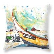 Fisherboat In Praia De Mira Throw Pillow