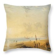 Fisherfolk On The Shore Near Dover At Sunset Throw Pillow