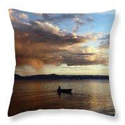 Fisherman At Sunset On Lake Titicaca Throw Pillow