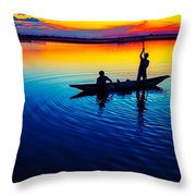 Fisherman Boat On Summer Sunset, Travel Photo Poster Throw Pillow