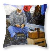 fisherman from Mola di Bari Throw Pillow