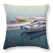 Coastal Wall Art, Fisherman In A Calm, Fishing Boat Paintings Throw Pillow