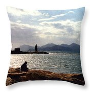 Fisherman In Nice France Throw Pillow