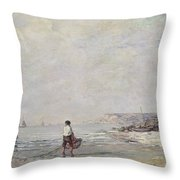 Fisherman In Villerville Throw Pillow
