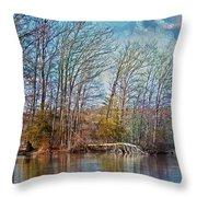 Fisherman On Burke Lake Throw Pillow