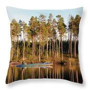 Fisherman On Evening Lake Throw Pillow