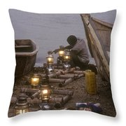 Fisherman Prepares Lanterns For Night Throw Pillow