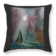 Fisherman Under Full Moon Throw Pillow
