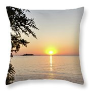 Fisherman's Island Sunset Throw Pillow