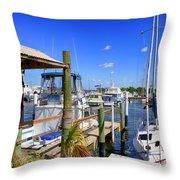 Fishermans Village Marina Fl Throw Pillow