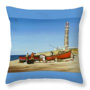 Fishermen By Lighthouse Throw Pillow