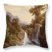 Fishermen By The Waterfall Throw Pillow