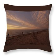 Fishermen Fishing In The Surf At Sunset Throw Pillow