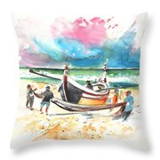 Fishermen In Praia De Mira 03 Throw Pillow