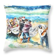 Fishermen In Praia De Mira Throw Pillow