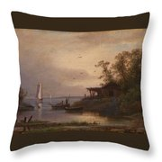 Fishermen In The Harbour Throw Pillow