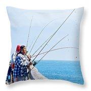 Fishermen On Commercial Pier In Monterey-california  Throw Pillow