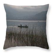 Fishermen On Lake Atitlan Throw Pillow