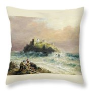 Fishermen On The Rocks Before A Castle Throw Pillow